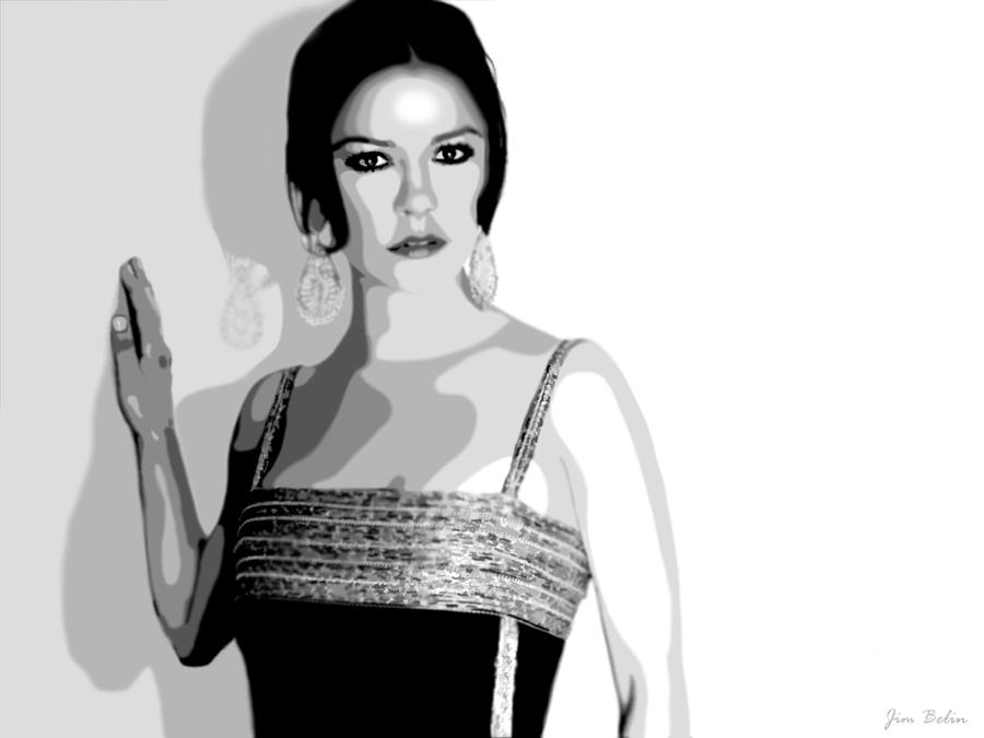 Catherine Zeta Jones 6 Digital Art  - Catherine Zeta Jones 6 Fine Art Print