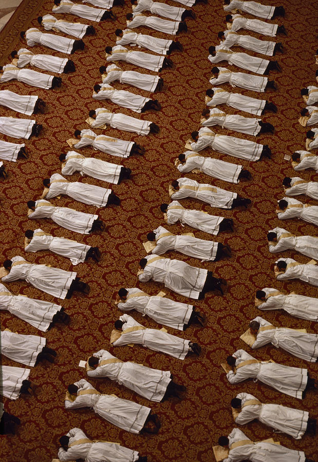 Catholic Clergy Prostrate Themselves Photograph
