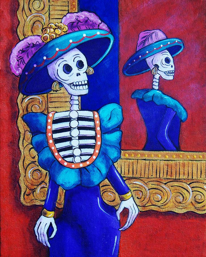 Catrina In The Mirror Painting  - Catrina In The Mirror Fine Art Print