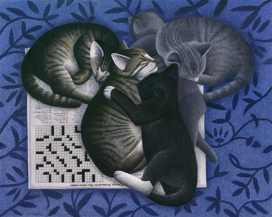 Cats And Crossword  Painting  - Cats And Crossword  Fine Art Print