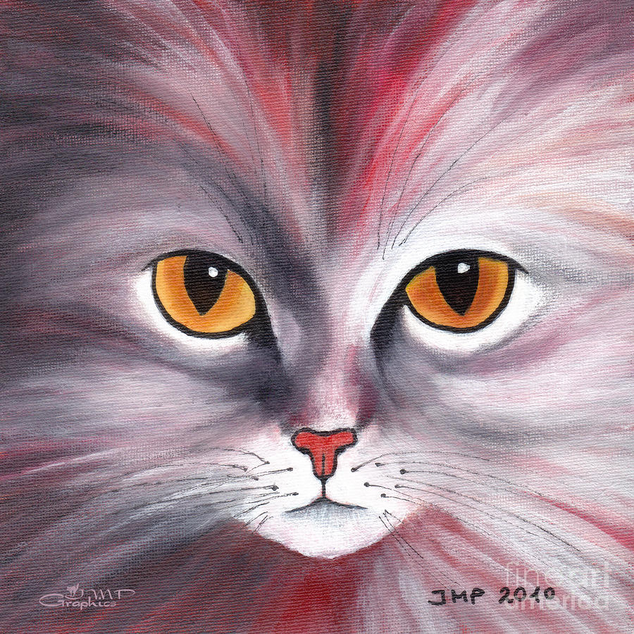 Cats Eyes Red Painting  - Cats Eyes Red Fine Art Print