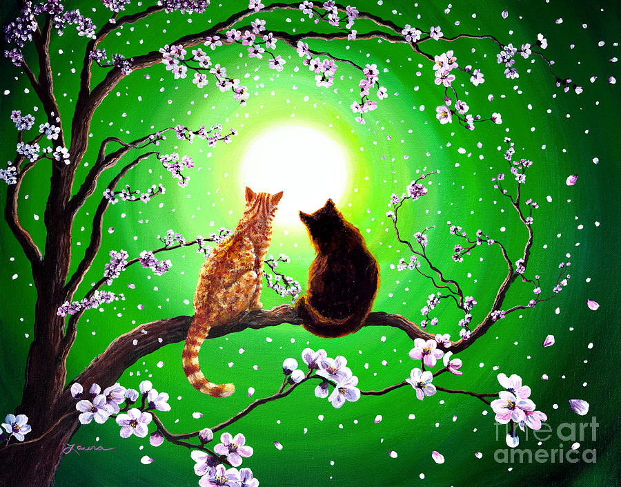 Cats On A Spring Night Painting