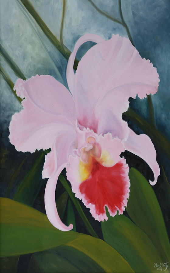Cattleya Painting - Cattleya Orchid by Don  Goetze