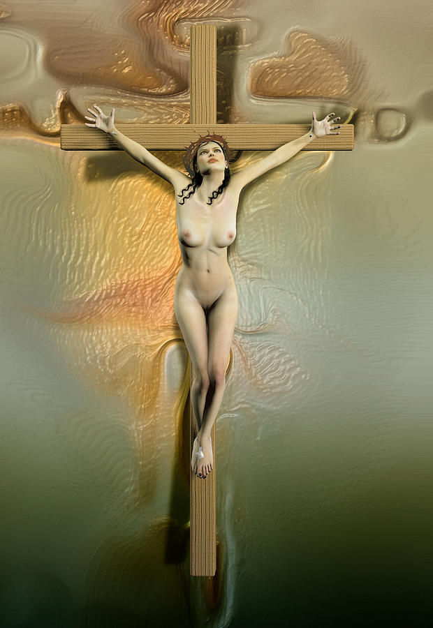 Caucasian Crucified Woman Digital Art  - Caucasian Crucified Woman Fine Art Print