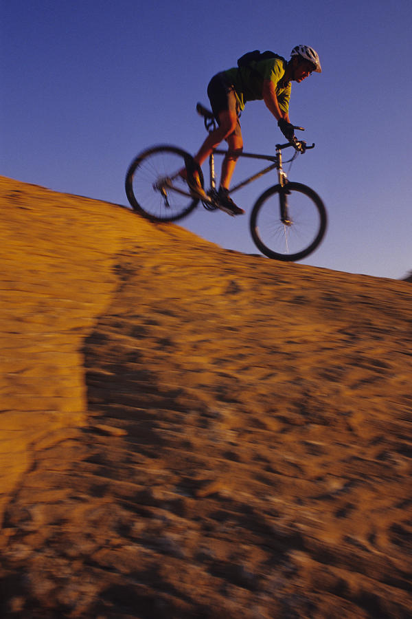 Caucasian Male Mountain Biking Photograph  - Caucasian Male Mountain Biking Fine Art Print