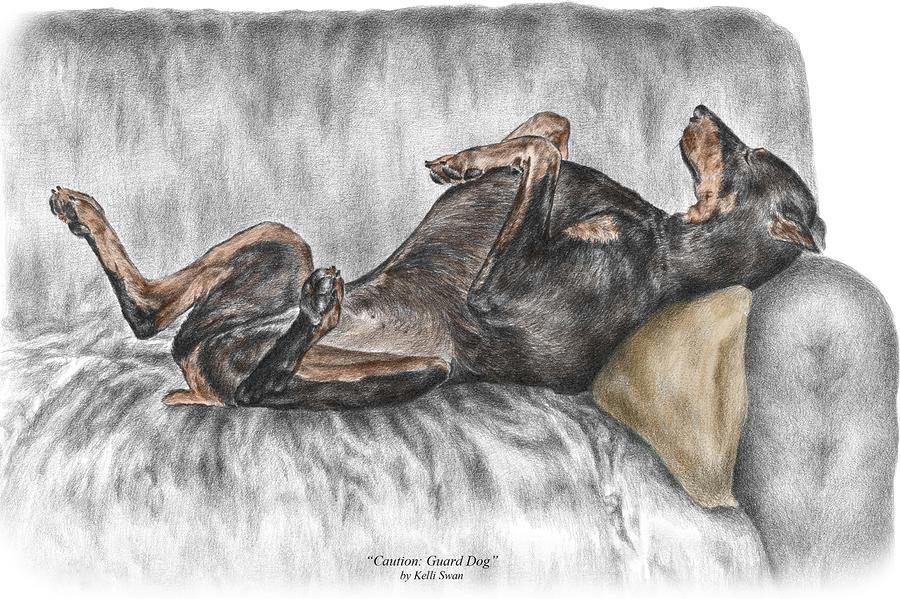 Caution Guard Dog - Doberman Pinscher Print Color Tinted Drawing