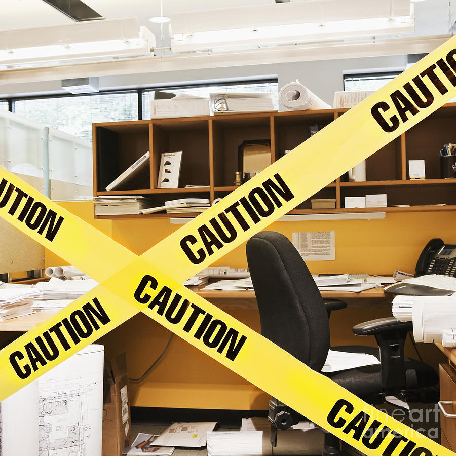 Caution Tape Blocking A Cubicle Entrance Photograph  - Caution Tape Blocking A Cubicle Entrance Fine Art Print