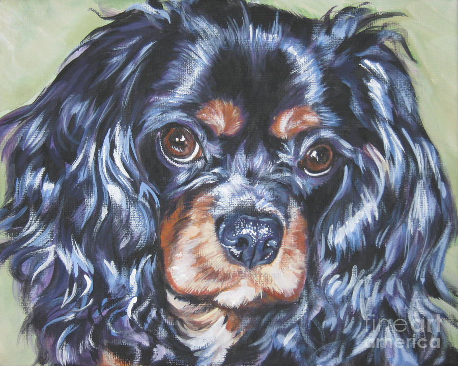 Cavalier King Charles Spaniel Black And Tan Painting