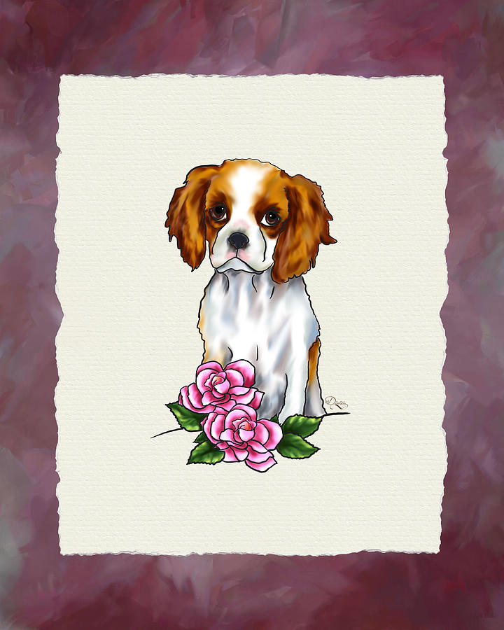 Cavalier King Charles Spaniel With Pink Roses Digital Art  - Cavalier King Charles Spaniel With Pink Roses Fine Art Print