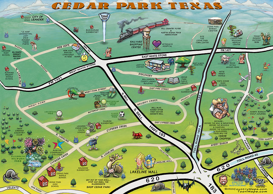Cedar Park Texas Cartoon Map Digital Art  - Cedar Park Texas Cartoon Map Fine Art Print
