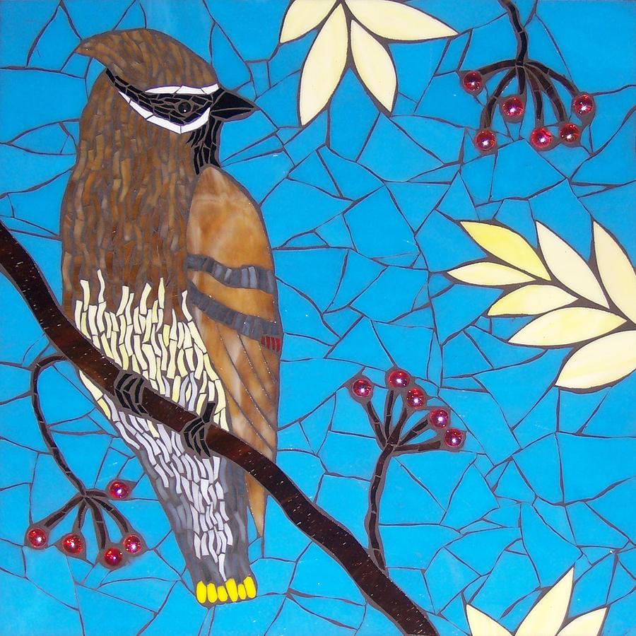 Cedar Waxwing Glass Art