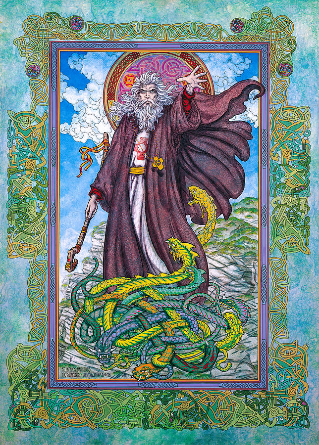 Celtic Irish Christian Art - St. Patrick Painting  - Celtic Irish Christian Art - St. Patrick Fine Art Print