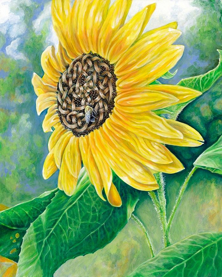 Celtic Knot Sunflower Painting  - Celtic Knot Sunflower Fine Art Print