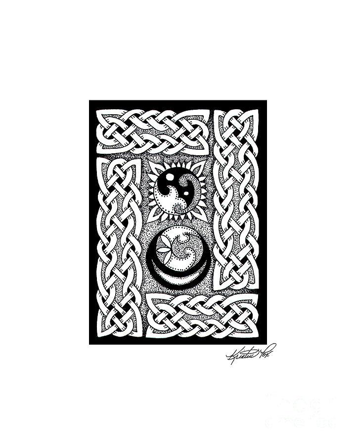 Celtic Knotwork Sun Moon Drawing by Kristen Fox