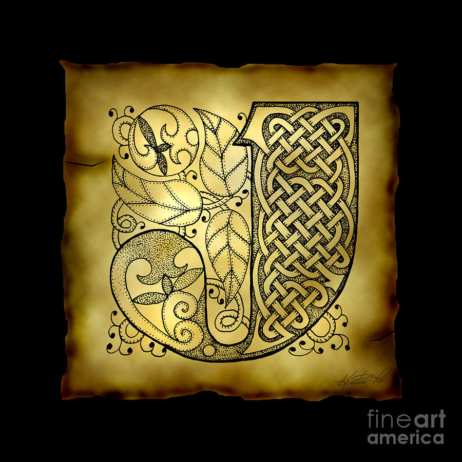 Celtic Letter J Monogram Mixed Media  - Celtic Letter J Monogram Fine Art Print