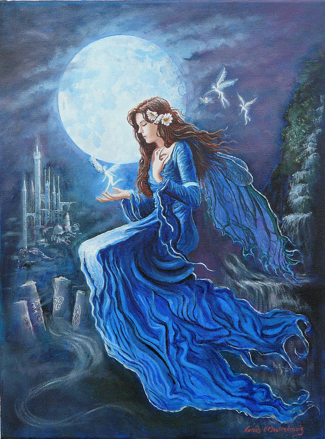 Celtic Moon Goddess Painting  - Celtic Moon Goddess Fine Art Print