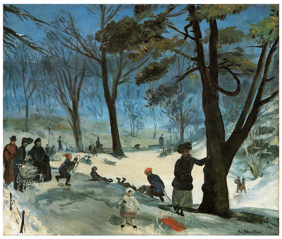 Central Park In Winter Painting