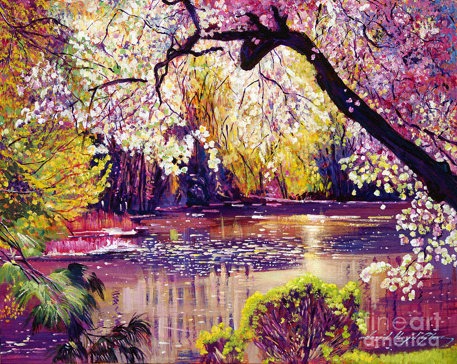 Central park spring pond by david lloyd glover for Spring canvas paintings