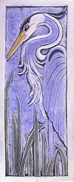Ceramic Heron Tile Relief