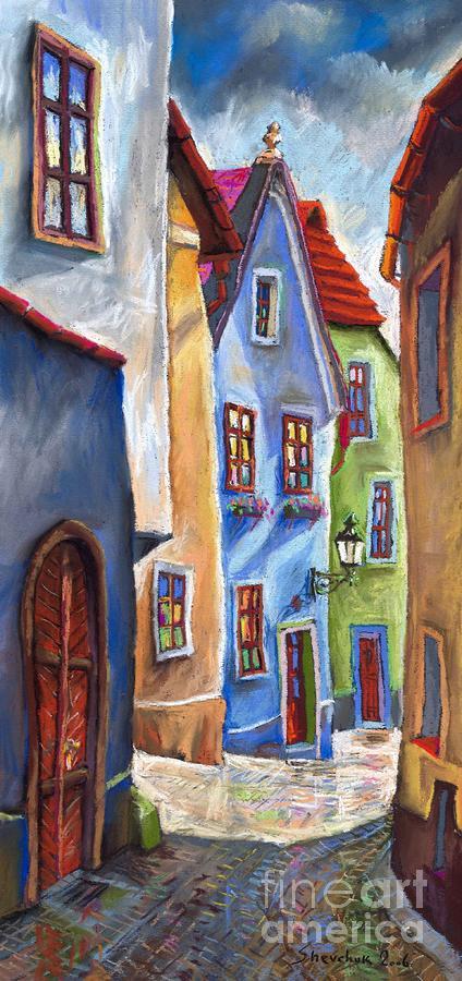 Cesky Krumlov Old Street Painting