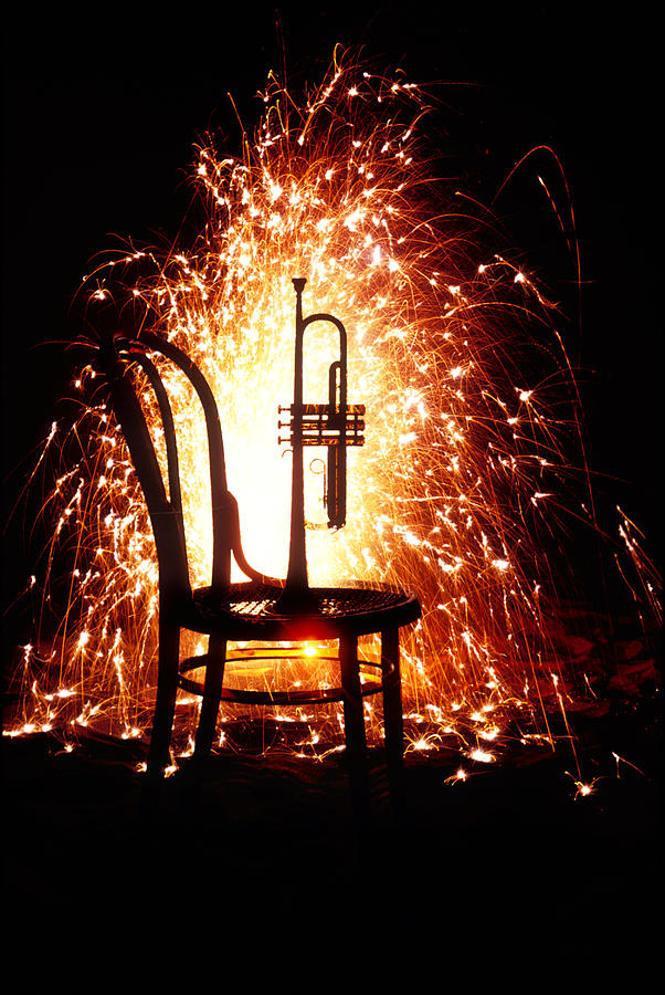 Chair And Horn With Fireworks Photograph  - Chair And Horn With Fireworks Fine Art Print