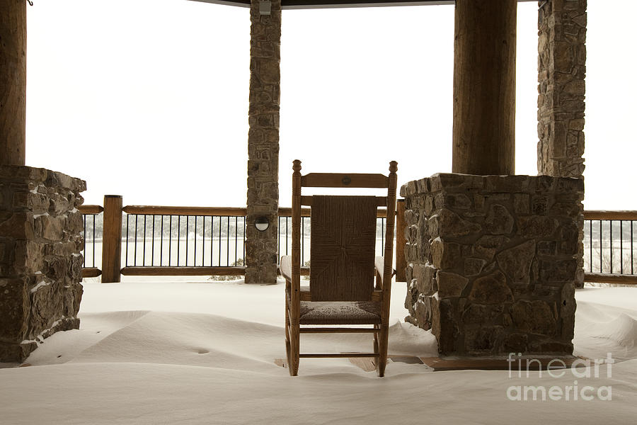 Chair On A Snowy Balcony Photograph