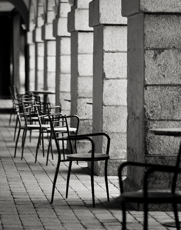 Chair Photograph - Chairs And Pillars  by Marcio Faustino