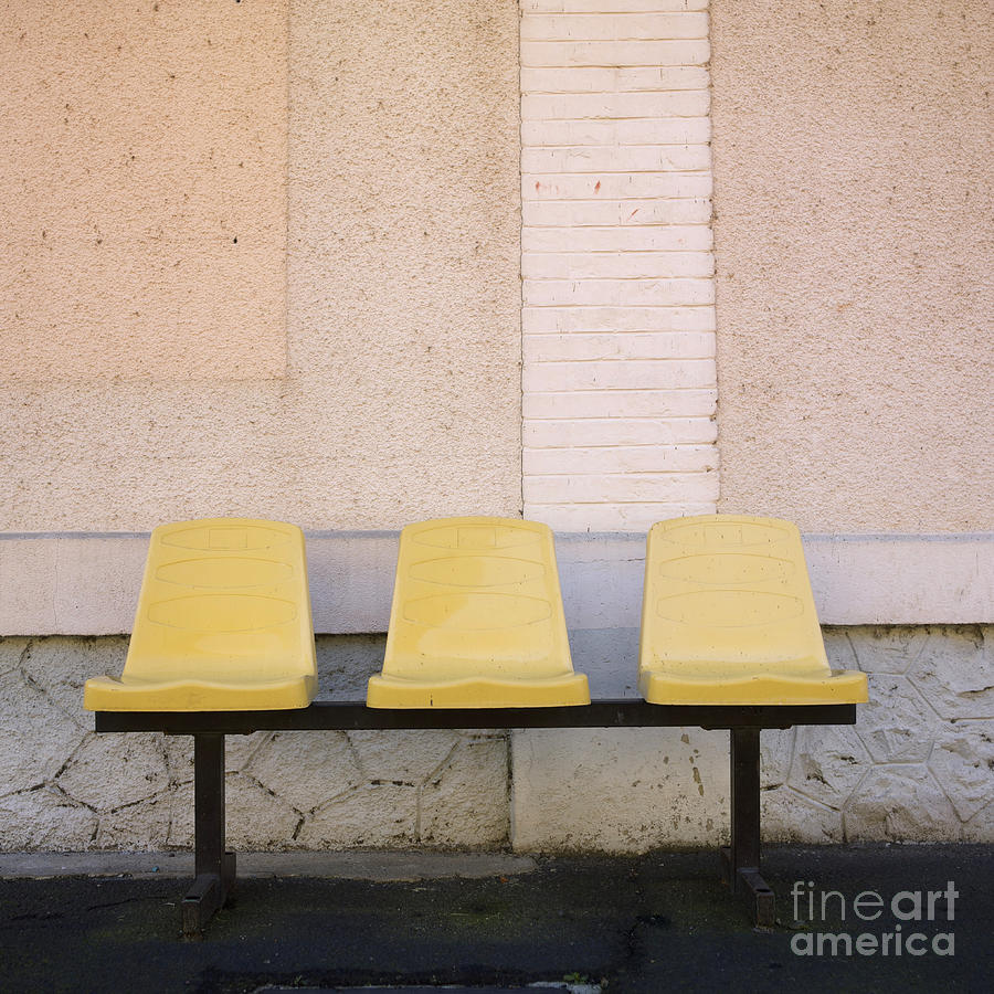 Walls; Wall; To; Three; The; Station; Side-by-side; Side; Shots; Shot; Seats; Seating-accommodation; Seating; Photos; Photo; Outdoor; Other; Nobody; Next; In; House; Exteriors; Exterior; Each; During; Daytime; Daylight; Day; Chairs; Chair; By; Beside; Benches; Bench; Accommodation; Abreast Photograph - Chairs by Bernard Jaubert