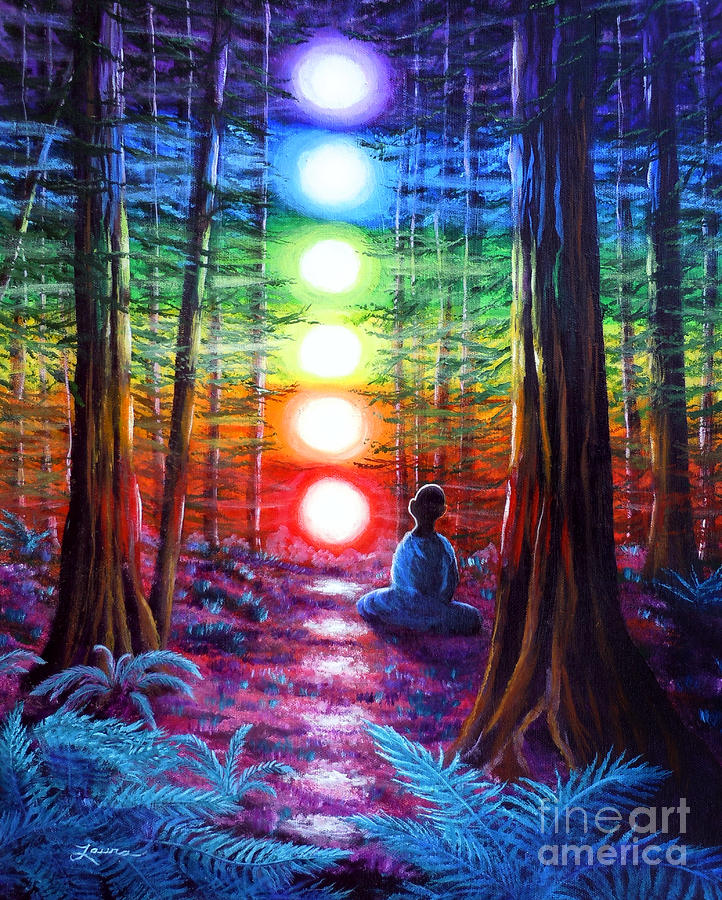 Chakra Meditation In The Redwoods Painting  - Chakra Meditation In The Redwoods Fine Art Print