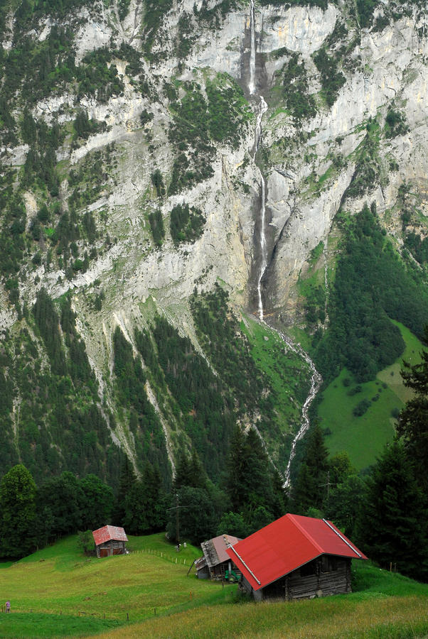 Chalets Overlooking The Lauterbrunnen Photograph  - Chalets Overlooking The Lauterbrunnen Fine Art Print