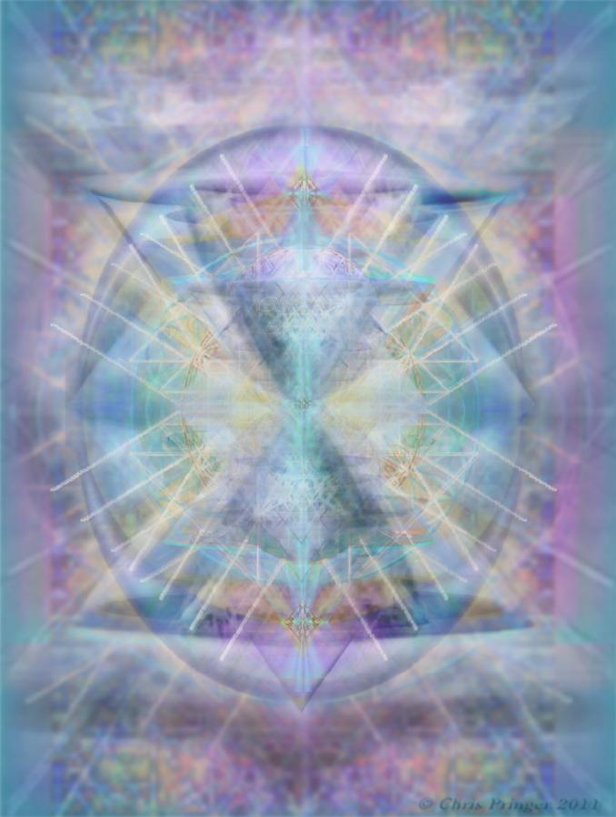 Chalice Of Vorticspheres Of Color Shining Forth Over Tapestry Digital Art  - Chalice Of Vorticspheres Of Color Shining Forth Over Tapestry Fine Art Print