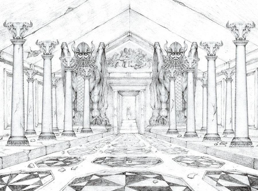 Chamber Of The Lamassu Drawing
