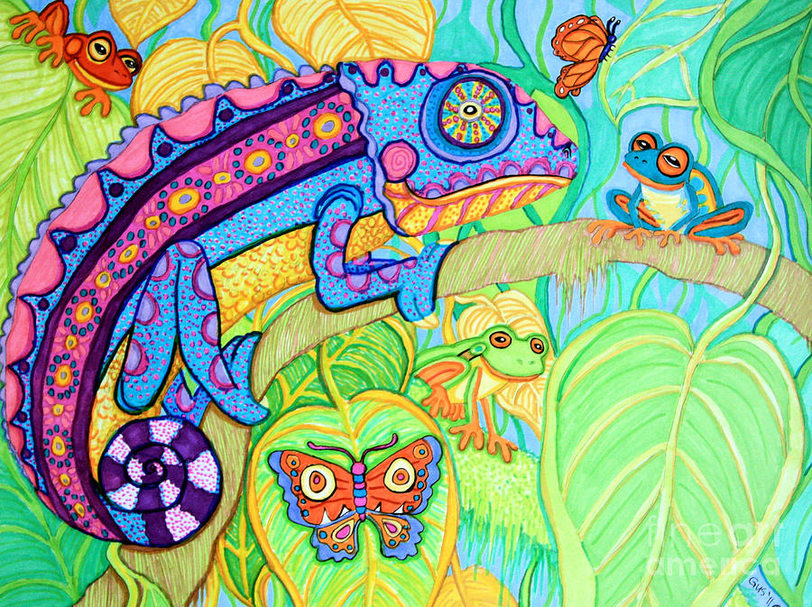 Chamelion And Rainforest Frogs Drawing