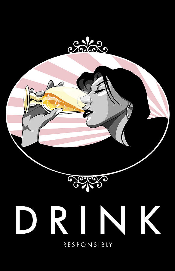 Champagne Drinking Woman Propaganda Style Digital Art