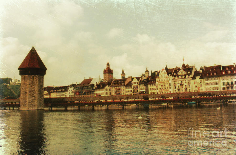 Chapel Bridge Lucerne Switzerland Photograph  - Chapel Bridge Lucerne Switzerland Fine Art Print