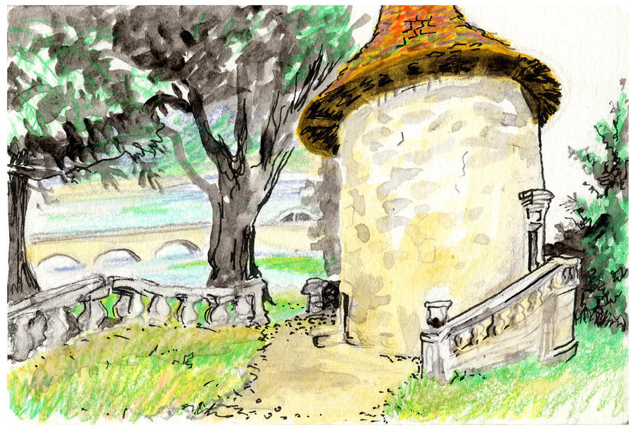Chapel On Estate River Painting  - Chapel On Estate River Fine Art Print