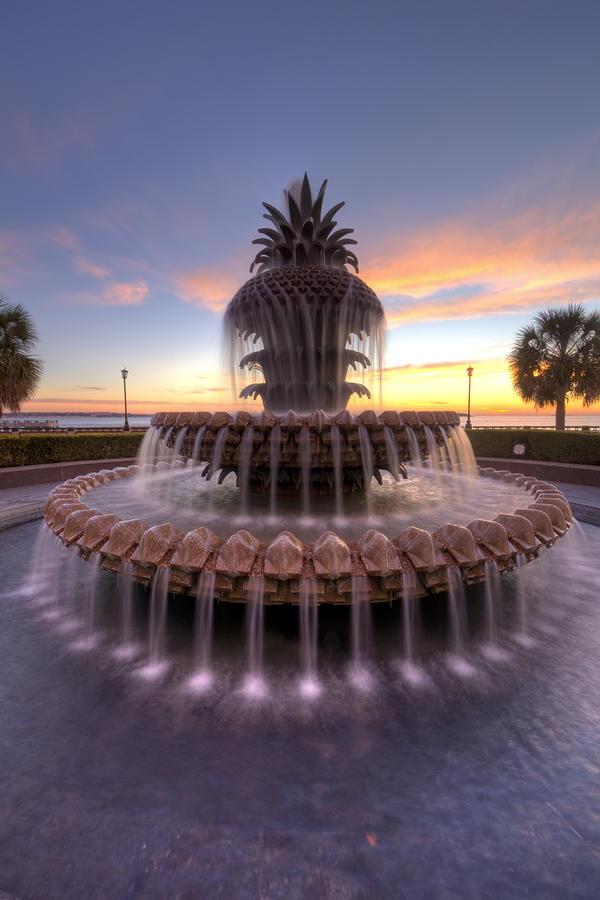 Charelston Pineapple Fountain Sunrise Photograph