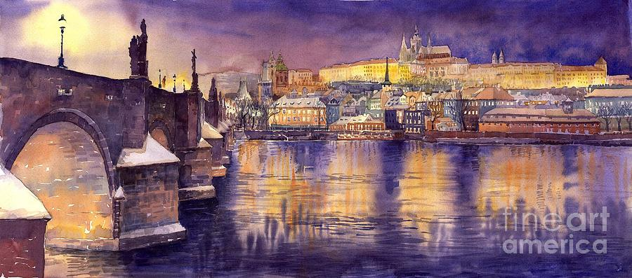 Charles Bridge And Prague Castle With The Vltava River Painting  - Charles Bridge And Prague Castle With The Vltava River Fine Art Print