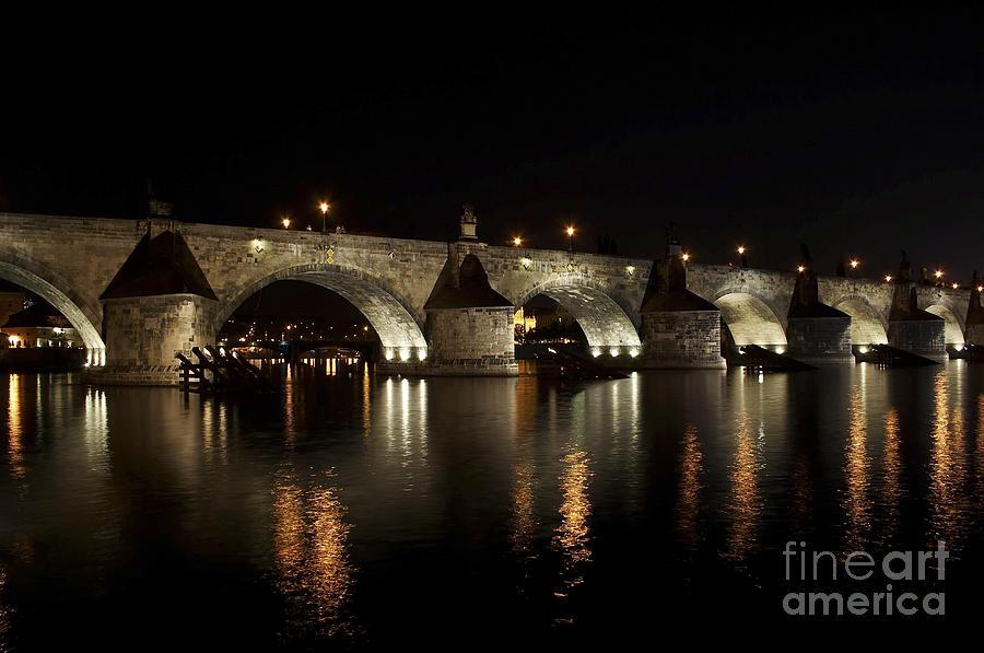 Charles Bridge At Night Photograph