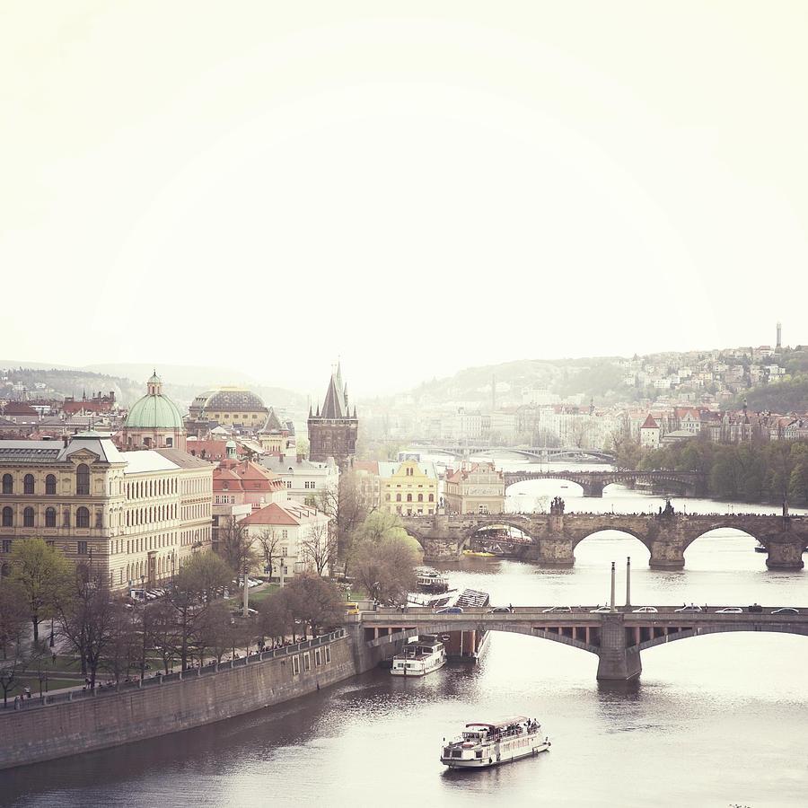 Square Photograph - Charles Bridge Crossing Vltava River by Image - Natasha Maiolo
