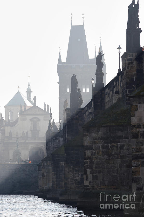 Charles Bridge In The Early Morning Fog Photograph  - Charles Bridge In The Early Morning Fog Fine Art Print