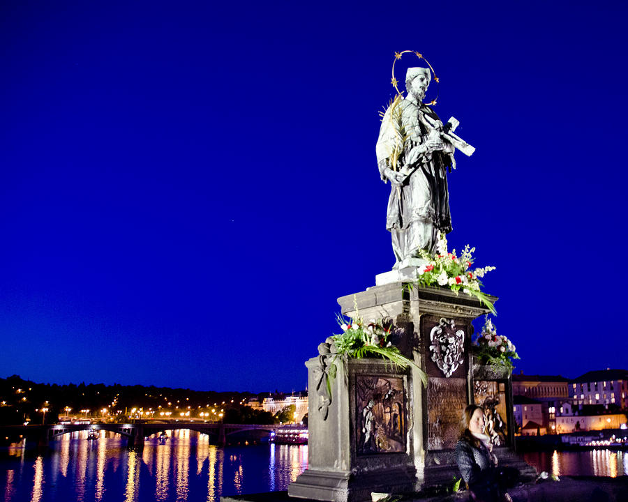 Charles Bridge Statue Of St John Of Nepomuk     Photograph