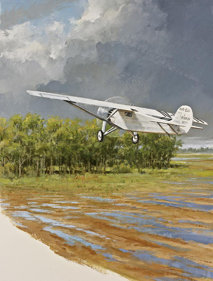 Acrylic Painting Painting - Charles Lindbergh Taking Off by Cliff Spohn