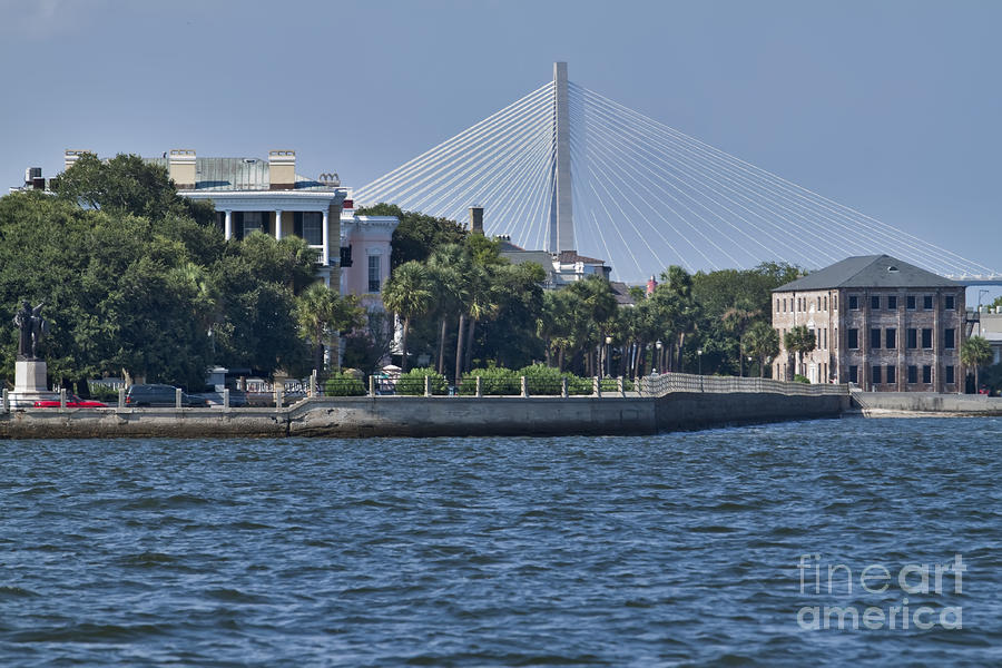 Charleston Battery Row And Bridge  Photograph  - Charleston Battery Row And Bridge  Fine Art Print