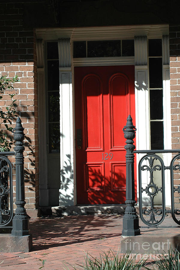 Charleston Red Door And Black Iron Gate Photograph  - Charleston Red Door And Black Iron Gate Fine Art Print