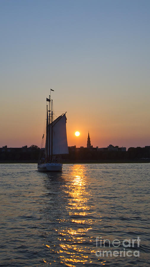 Charleston Schooner Sunset Photograph  - Charleston Schooner Sunset Fine Art Print