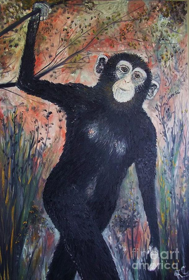 Charlie The Chimp     Full Size Painting  - Charlie The Chimp     Full Size Fine Art Print