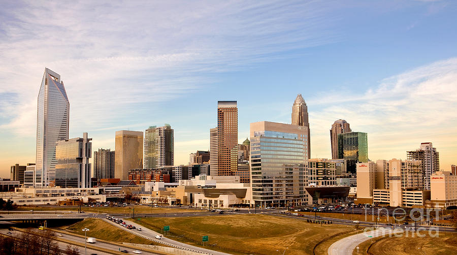 Charlotte Skyline At Daylight Photograph  - Charlotte Skyline At Daylight Fine Art Print