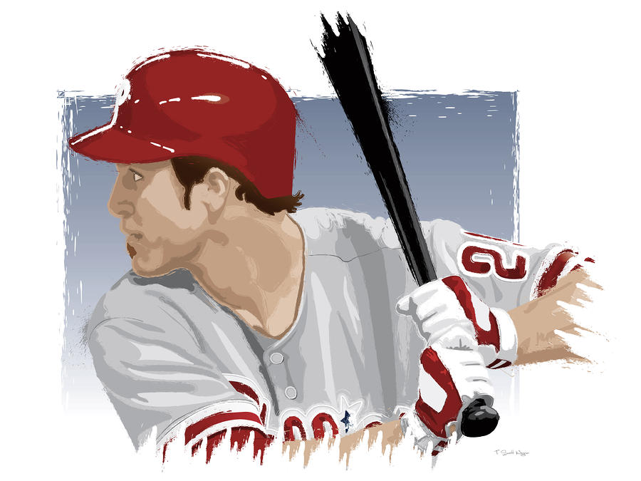 Chase Utley Digital Art  - Chase Utley Fine Art Print