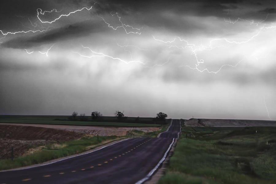 Chasing The Storm - Bw And Color Photograph  - Chasing The Storm - Bw And Color Fine Art Print